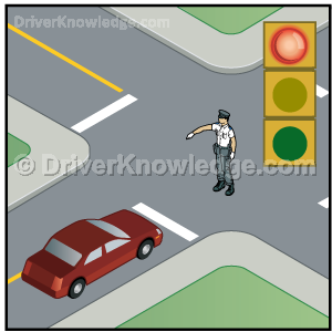 Obey the policeman's signal