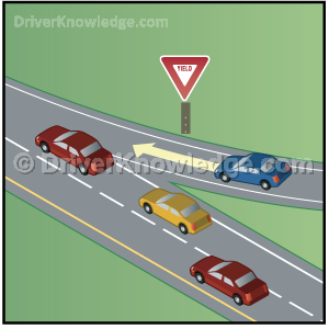 approaching a yield sign