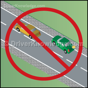 Passing using the unpaved shoulder