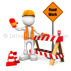 a flagger in construction area